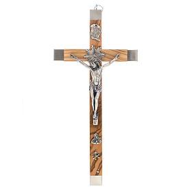 Crocefisso dei sacerdoti in ulivo e acciaio 36x19 s1