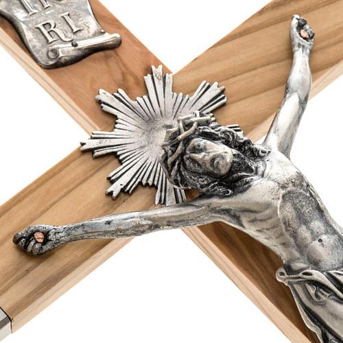 Crocefisso dei sacerdoti in ulivo e acciaio 36x19 2