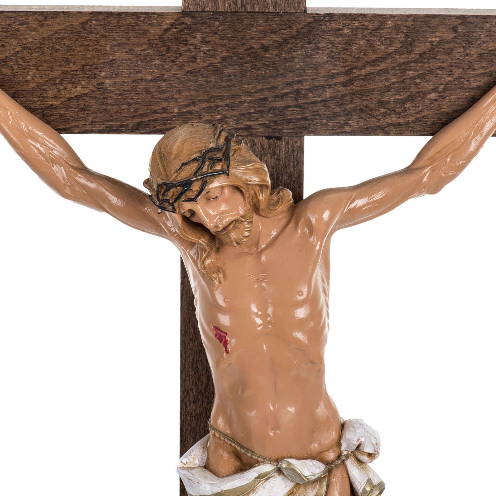 Crocifisso Fontanini croce legno 54x30 corpo pvc 4