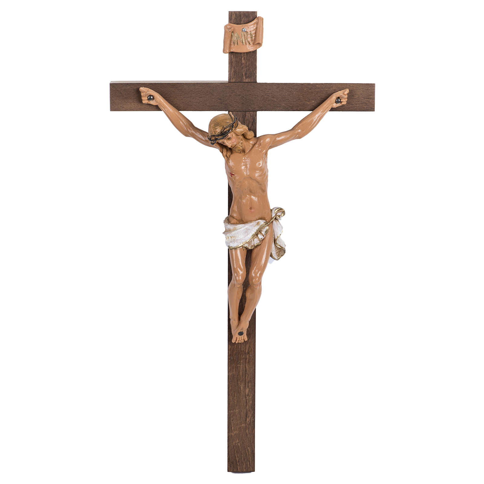Crocifisso Fontanini croce legno 38x22 corpo pvc 4