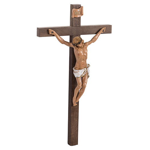 Crocifisso Fontanini croce legno 38x22 corpo pvc 3