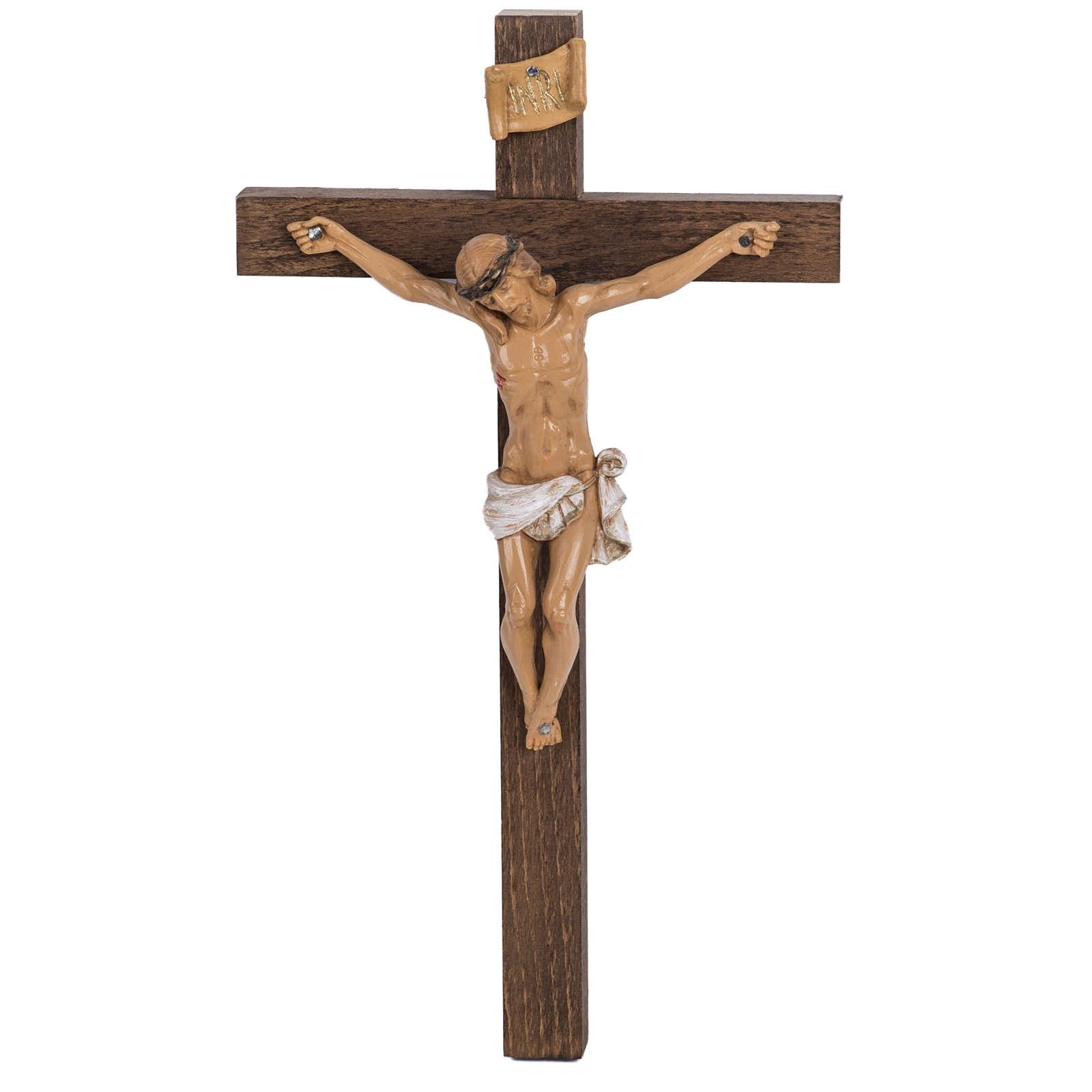 Crocifisso Fontanini croce legno 30x17 corpo pvc 4