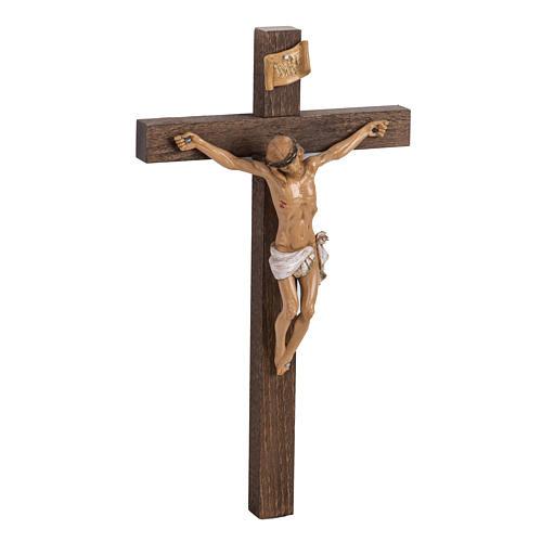 Crocifisso Fontanini croce legno 30x17 corpo pvc 3