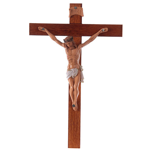Crucifijo Fontanini cruz madera 18 x 11,5 cuerpo PVC 1