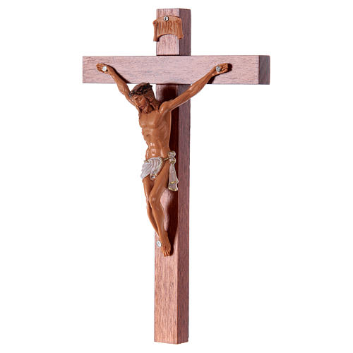 Crucifixo Fontanini cruz madeira 18x11,5 cm corpo pvc 2