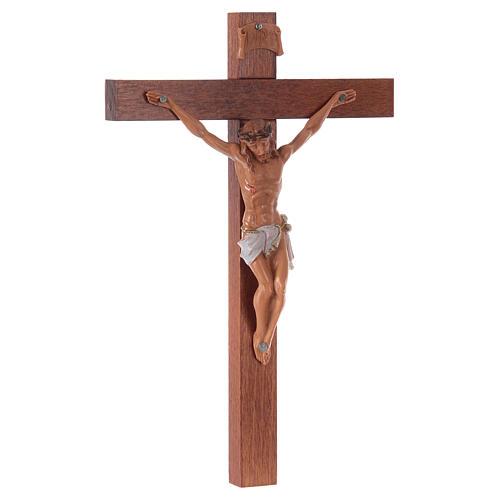 Crucifixo Fontanini cruz madeira 18x11,5 cm corpo pvc 3