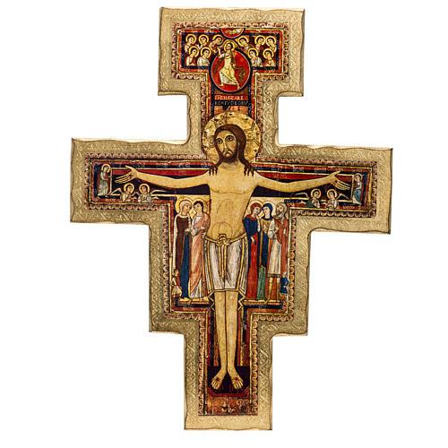 Crucifijo San Damiano estampa sobre madera 1