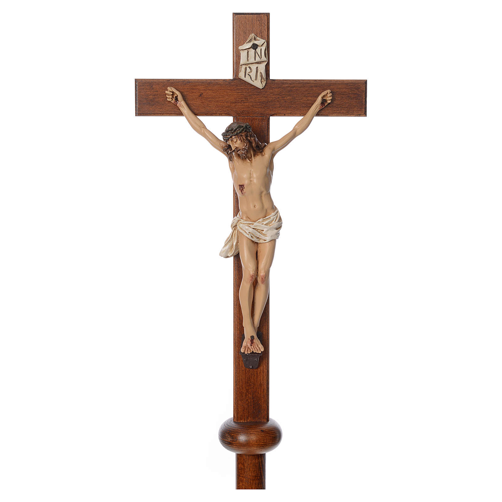 Processional cross in resin and wood 210cm Landi 4