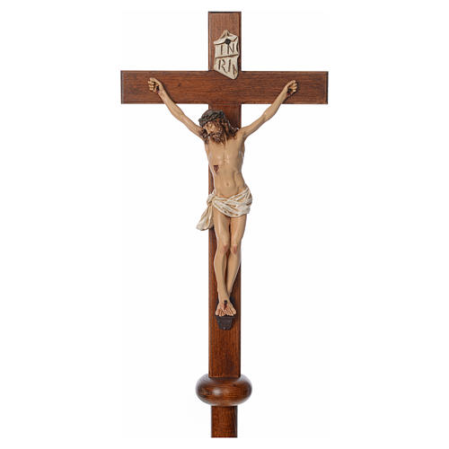 Processional cross in resin and wood 210cm Landi 3