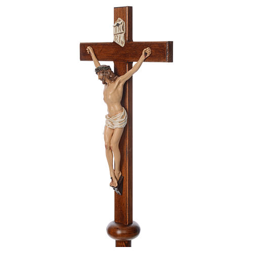 Processional cross in resin and wood 210cm Landi 5
