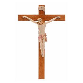 Crocifisso Fontanini 18x11,5cm croce legno corpo tipo porcellana s1