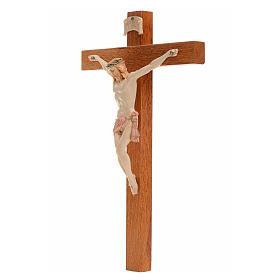 Crocifisso Fontanini 18x11,5cm croce legno corpo tipo porcellana s2