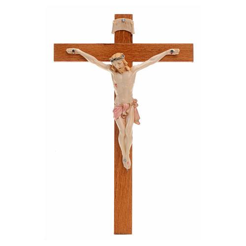 Crocifisso Fontanini 18x11,5cm croce legno corpo tipo porcellana 1
