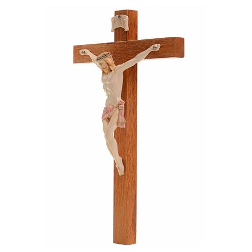 Crocifisso Fontanini 18x11,5cm croce legno corpo tipo porcellana 2