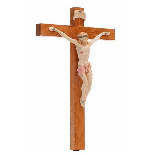 Crocifisso Fontanini 18x11,5cm croce legno corpo tipo porcellana 3