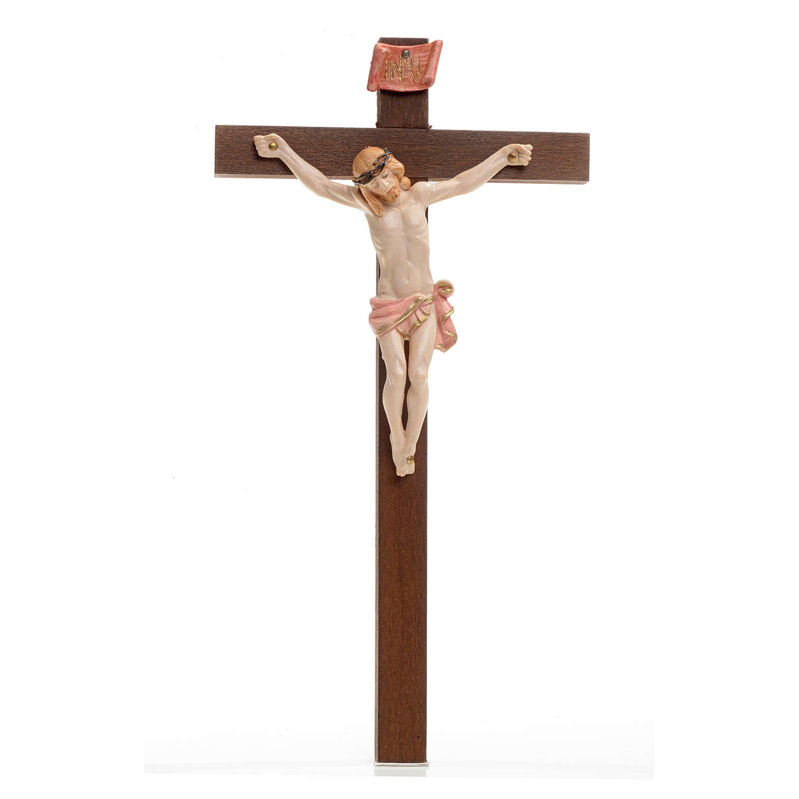 Crocifisso Fontanini 23x13 cm croce legno corpo tipo porcellana 4