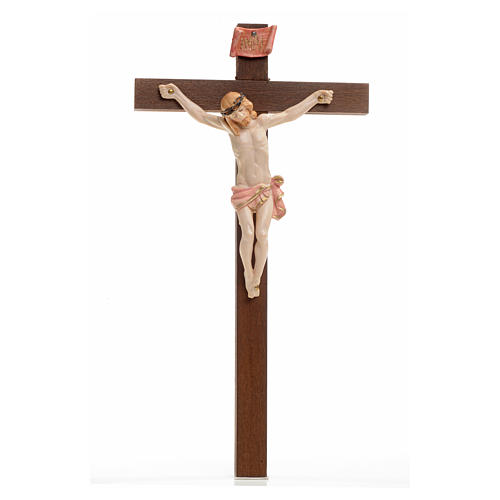 Crocifisso Fontanini 23x13 cm croce legno corpo tipo porcellana 1