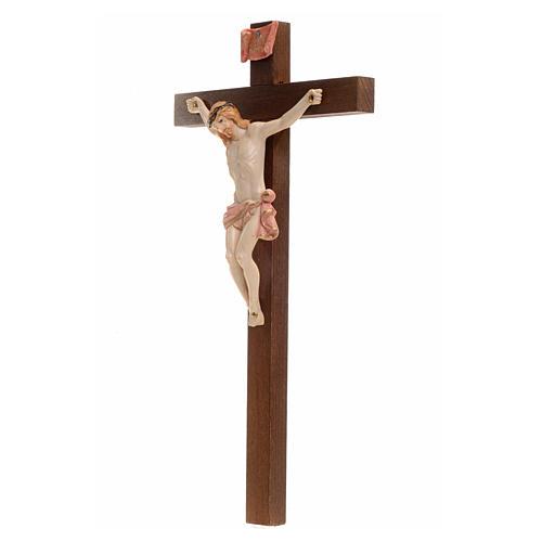 Crocifisso Fontanini 23x13 cm croce legno corpo tipo porcellana 3
