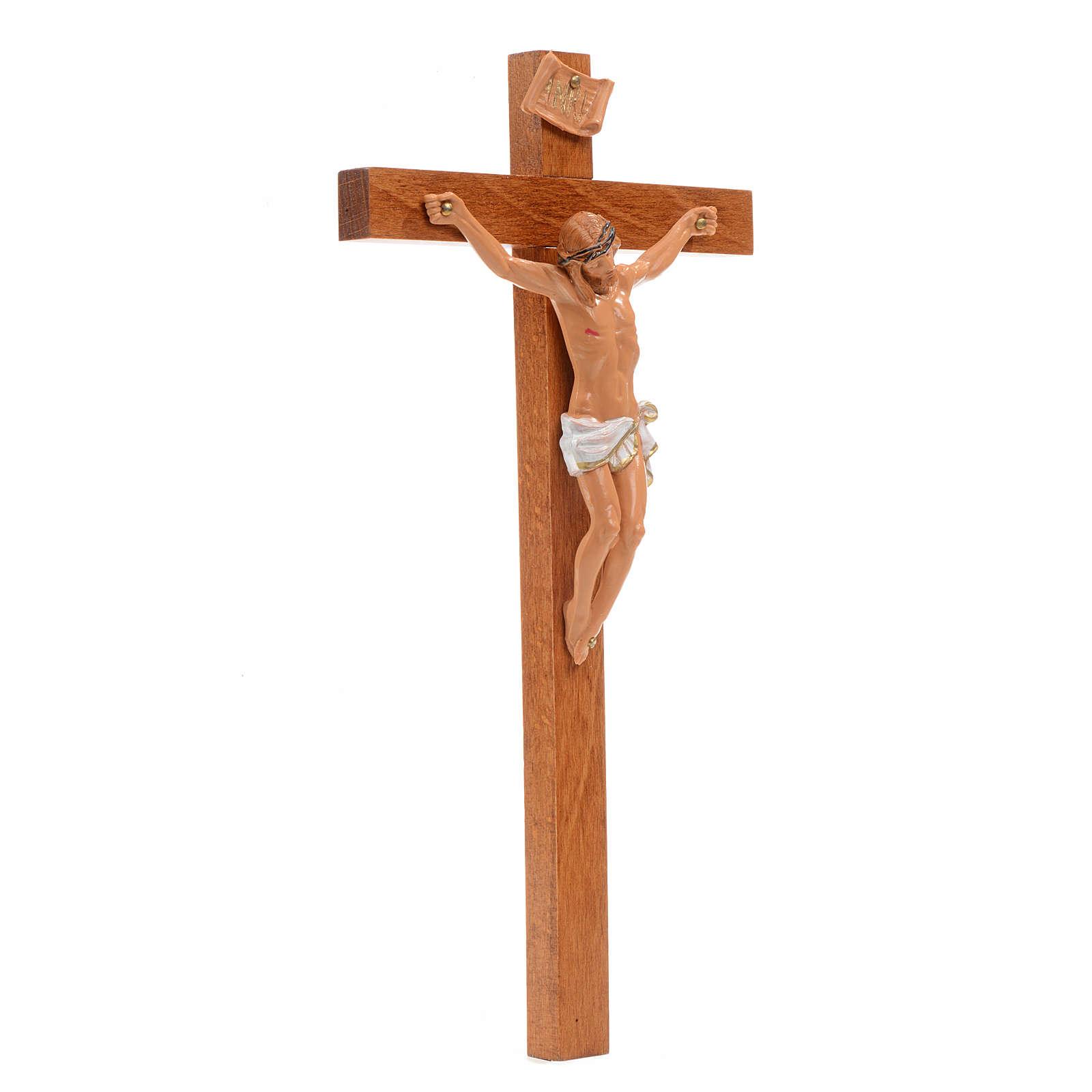 Crocifisso Fontanini 23x13 cm croce legno corpo pvc 4