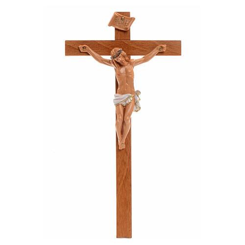 Crocifisso Fontanini 23x13 cm croce legno corpo pvc 1