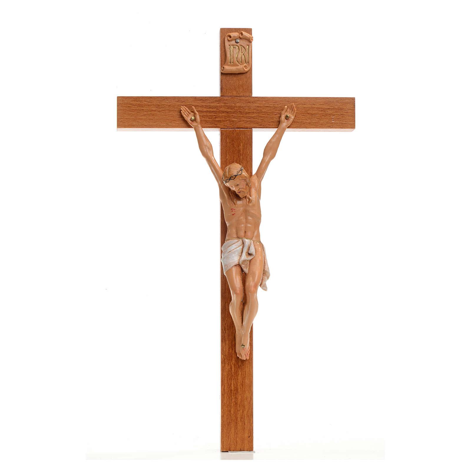 Crocifisso Fontanini 30x17 cm croce legno corpo pvc 4