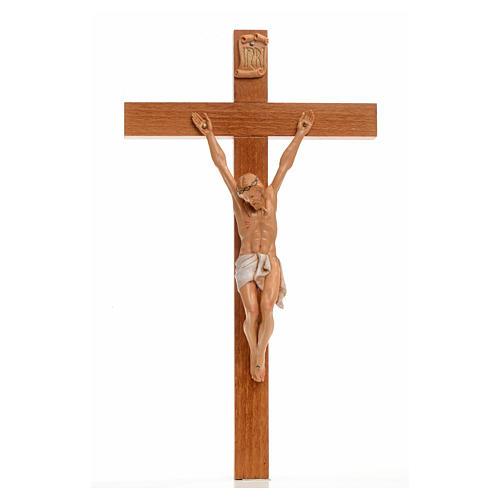 Crocifisso Fontanini 30x17 cm croce legno corpo pvc 1