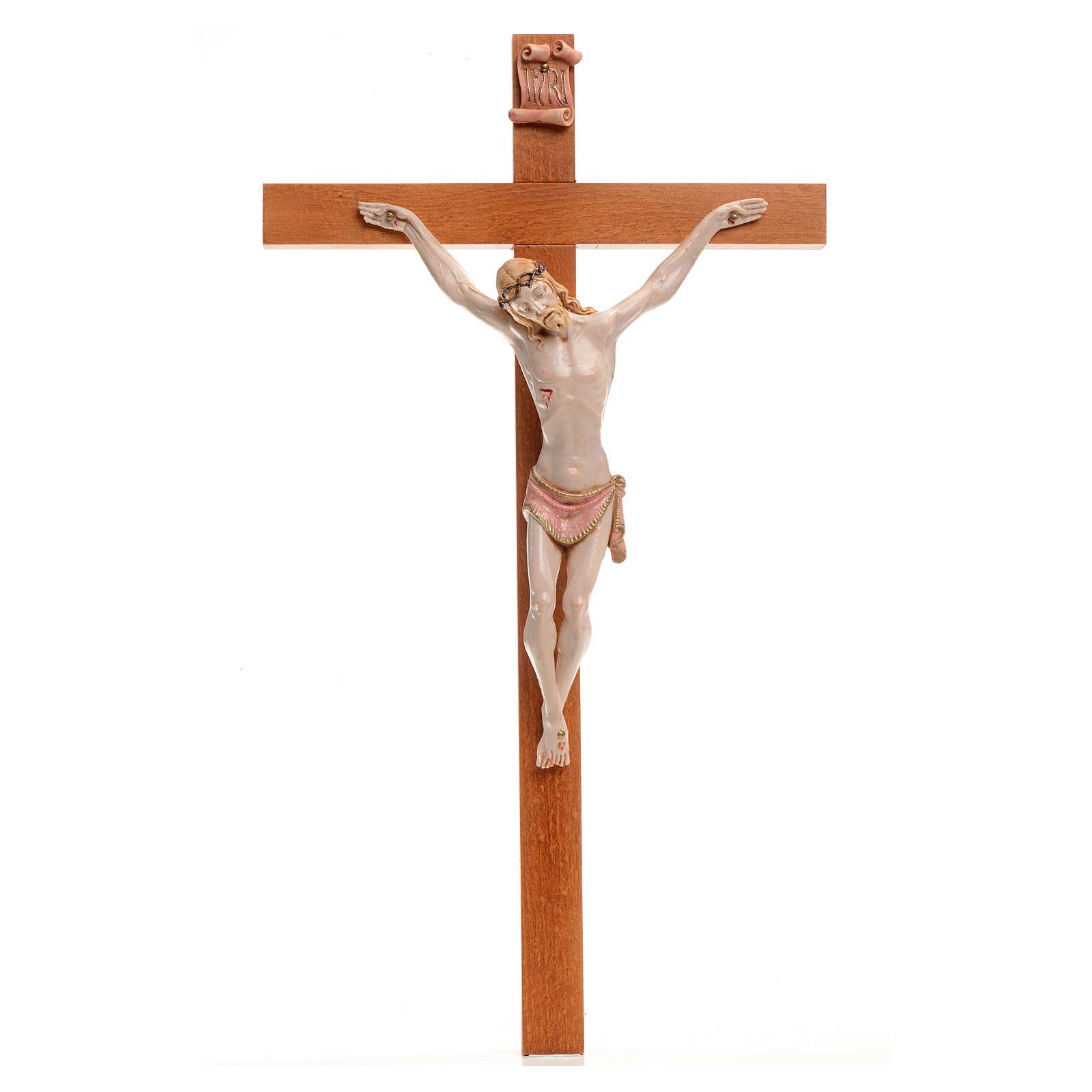 Crocifisso Fontanini 38x22 croce legno corpo pvc tipo porcellana 4