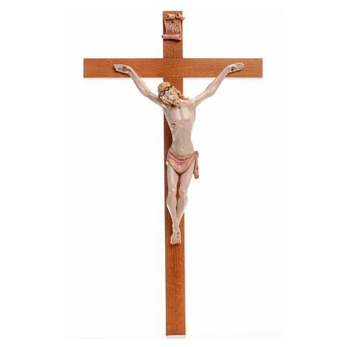 Crocifisso Fontanini 38x22 croce legno corpo pvc tipo porcellana 1