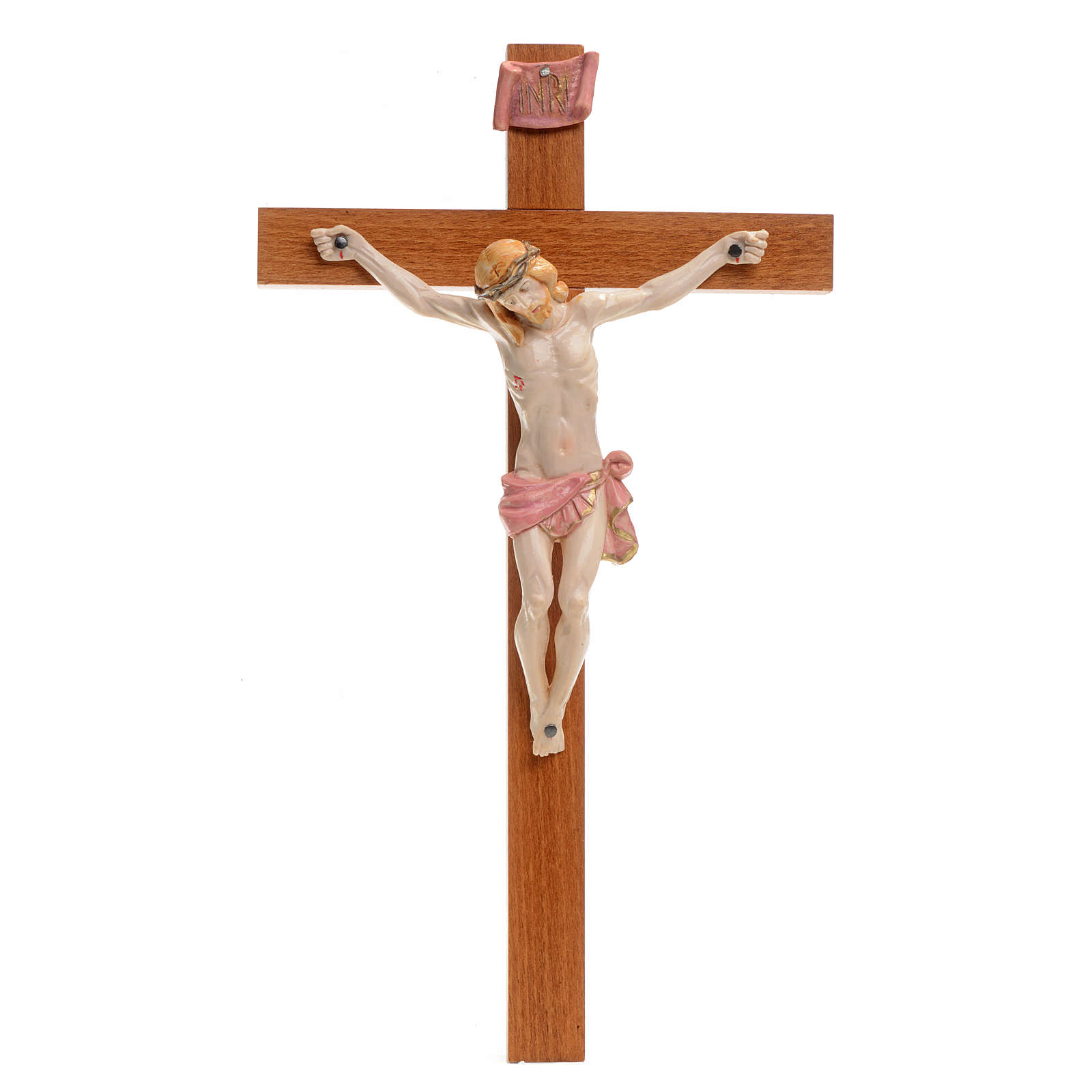 Crucifijo Fontanini 30x17 cerupo pvc tipo porcelana cruz madera 4