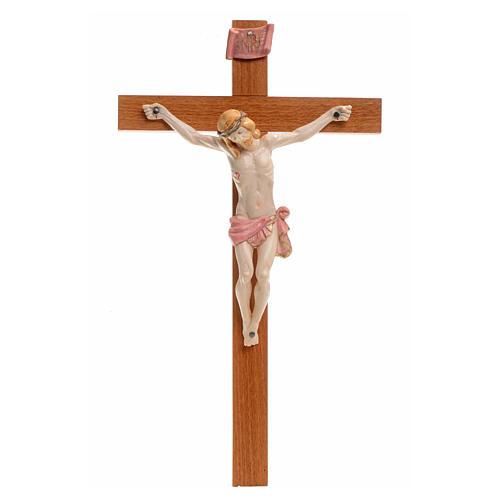 Crucifijo Fontanini 30x17 cerupo pvc tipo porcelana cruz madera 1