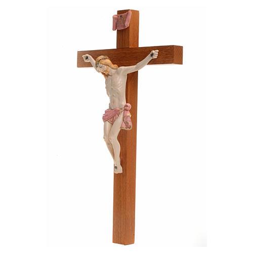 Crocefisso Fontanini 30x17 croce legno corpo pvc tipo porcellana 3