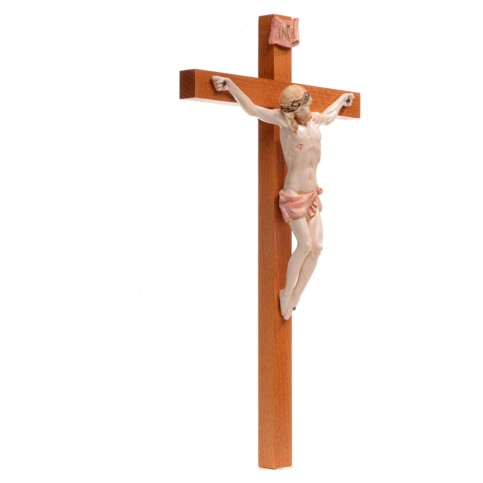 Crocefisso Fontanini 38x21 croce legno corpo pvc tipo porcellana 4