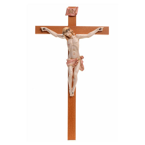 Crocefisso Fontanini 38x21 croce legno corpo pvc tipo porcellana 1