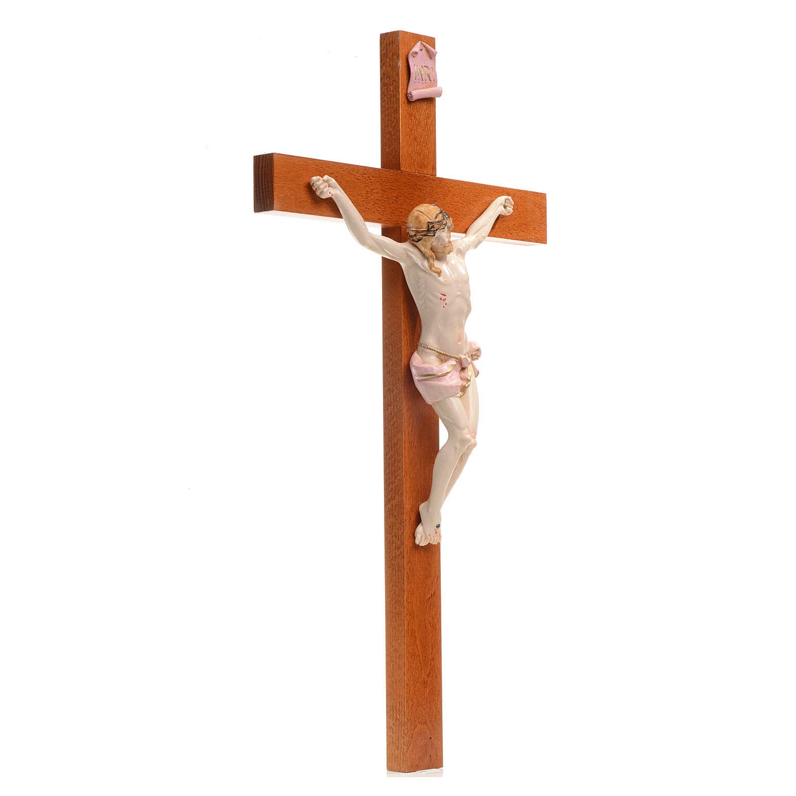 Crocefisso Fontanini 54x30 croce legno corpo pvc tipo porcellana 4