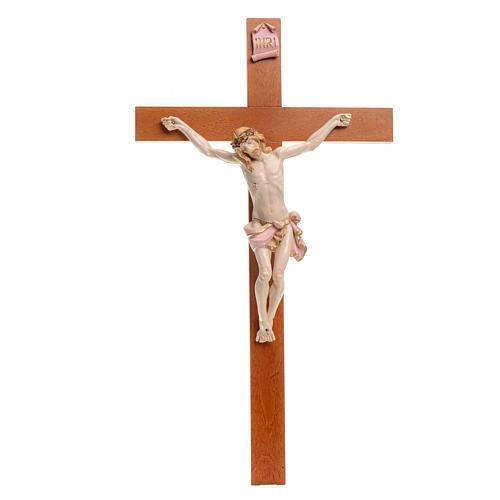 Crocefisso Fontanini 54x30 croce legno corpo pvc tipo porcellana 1