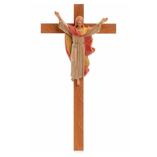 Crucifix bois Chris Ressuscité 25x13 cm Fontanini 1