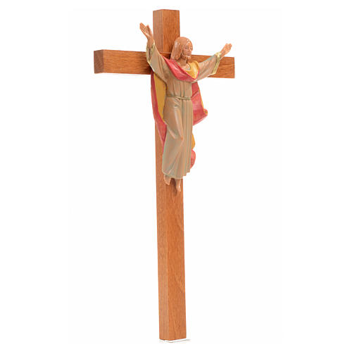 Crucifix bois Chris Ressuscité 25x13 cm Fontanini 2