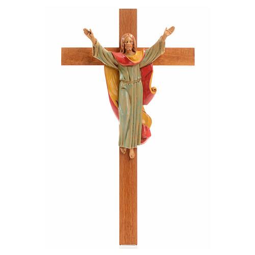 Crucifix bois Chris Ressuscité 30x17 cm Fontanini 1