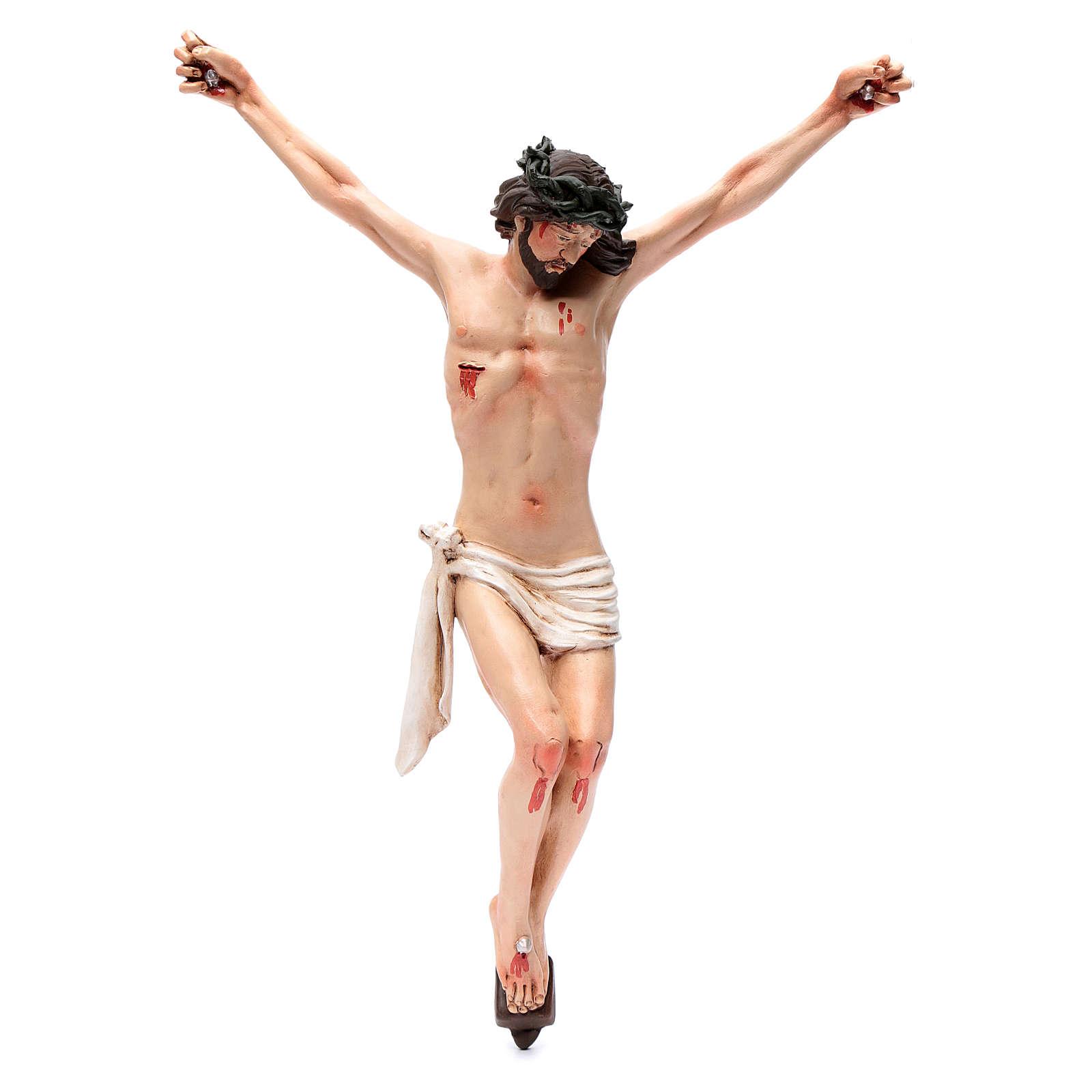 Corps du Christ terre cuite yeux cristal h 45cm style Napolitain 4