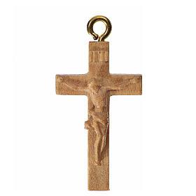 Rosary crucifix in patinated Valgardena wood s1
