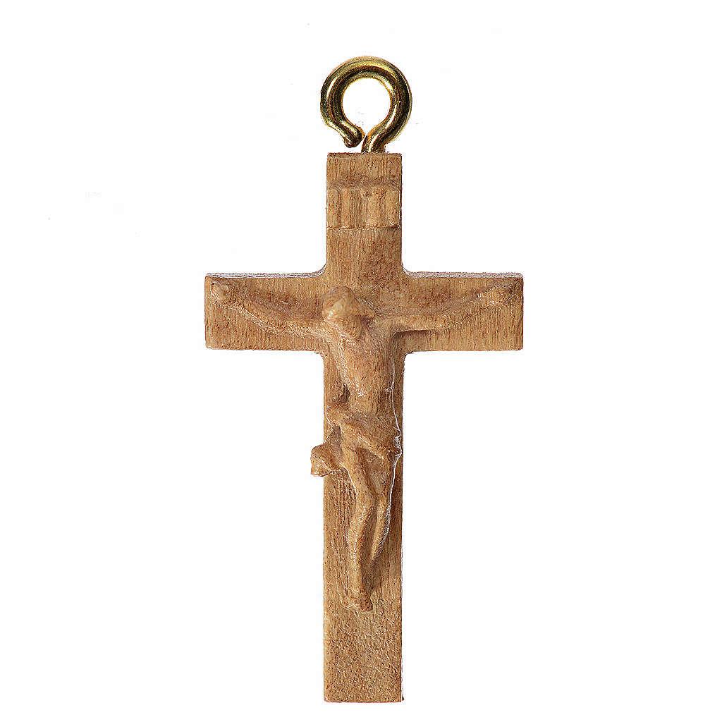 Rosary crucifix in patinated Valgardena wood 4