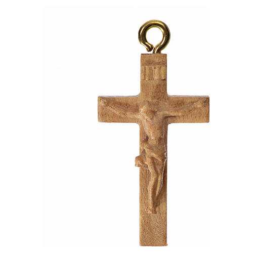 Rosary crucifix in patinated Valgardena wood 3