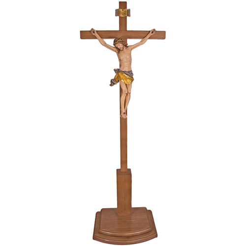 Crucifix on removable base, in Valgardena wood 188cm 1