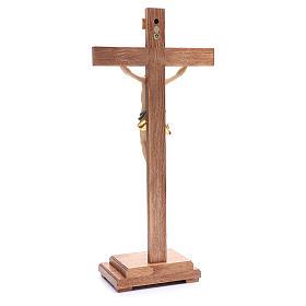 Crocefisso con base croce dritta legno Valgardena colorato s3