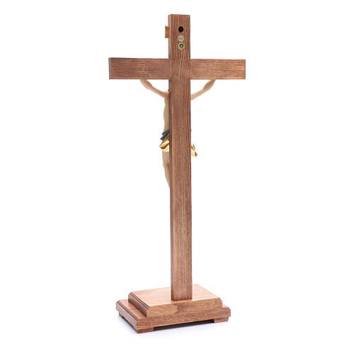 Crocefisso con base croce dritta legno Valgardena colorato 3
