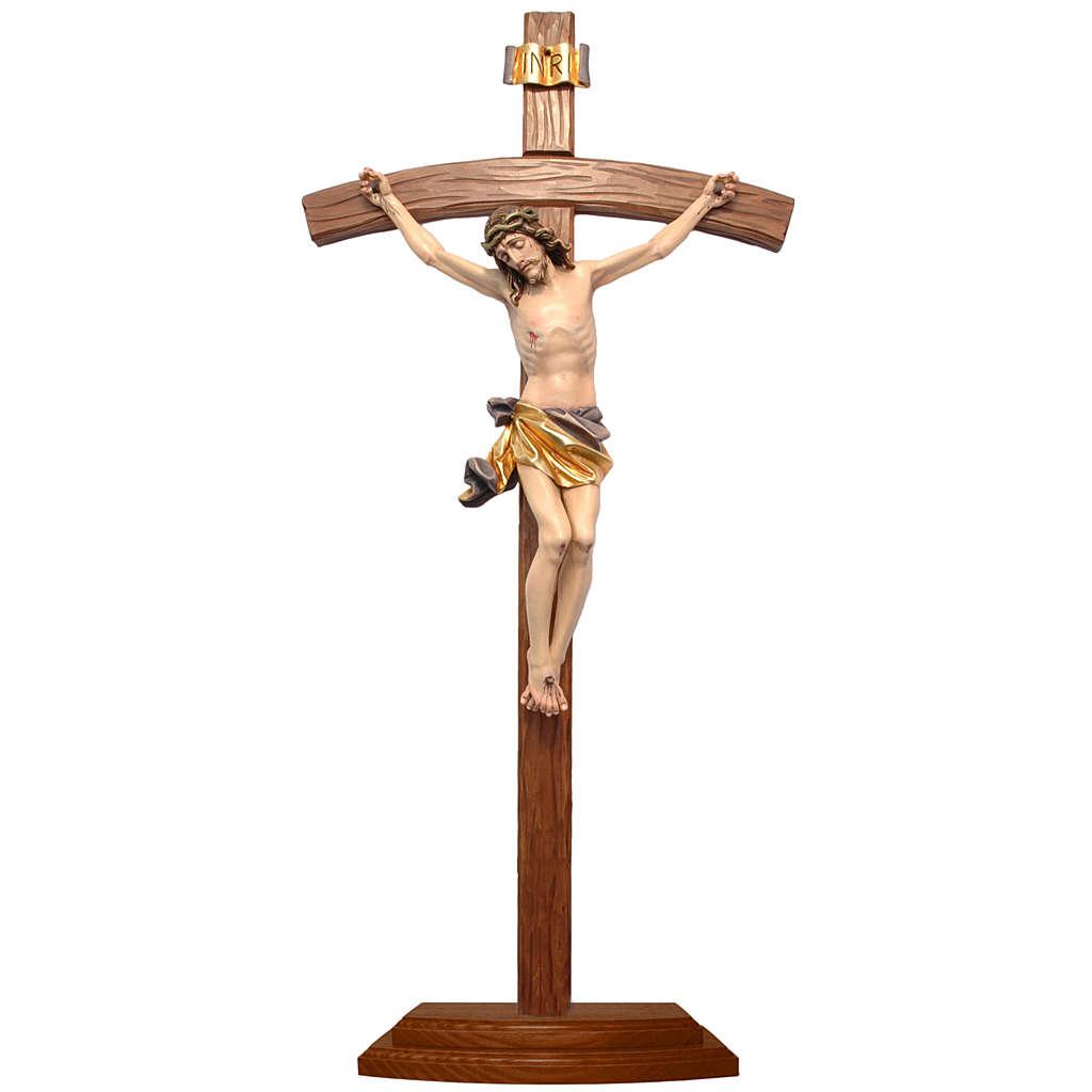 Crucifijo de mesa cruz curva madera Valgardena coloreada 4