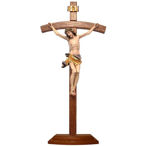 Crucifijo de mesa cruz curva madera Valgardena coloreada 1