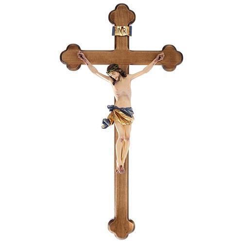 Crocifisso croce trilobata legno Valgardena colorato 1