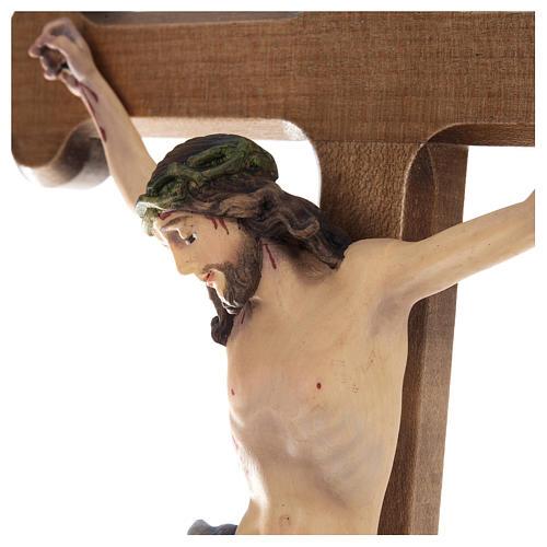 Crocifisso croce trilobata legno Valgardena colorato 3
