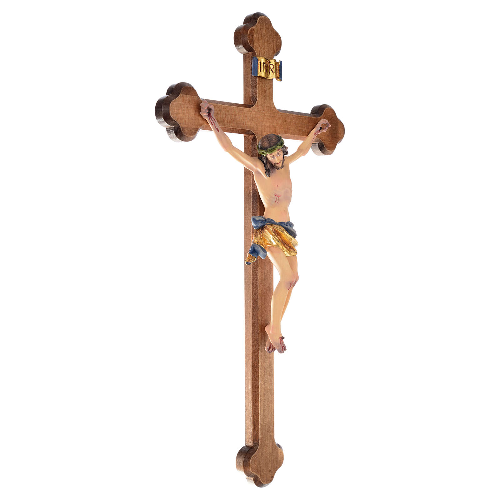 Trefoil crucifix, in coloured Valgardena wood 4